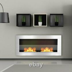 Stainless Steel Horizontal Wall Mounted Bio Ethanol Fireplace Burner 90cm Silver