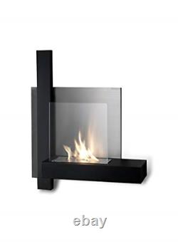 Stones Bioethanol Wall Fireplace with Bio-Ethanol Fireplace, Metal, Black