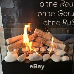 TÜV Geprüft Feuerstelle Biokamin Bioethanol Kamin mit Deko Holz Birken mit Glas