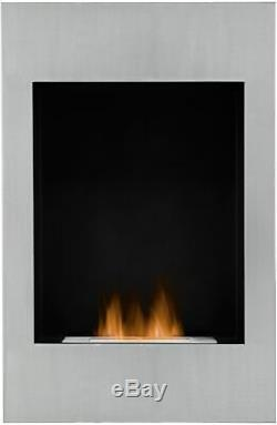 The Alexis Modern Wall Mounted Bio Ethanol Fire in Stainless Steel 20 Inch