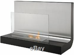 The Crescent Modern Wall Mounted Bio Ethanol Fire in Stainless Steel 31 Inch