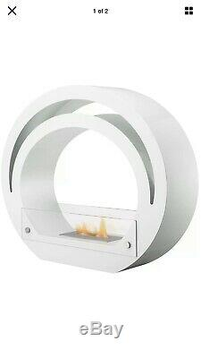 The Globe Modern Bio Ethanol Fireplace Suite Surround in Pure White 39 Inch