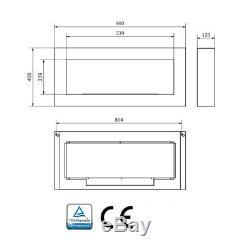 WHITE BIO ETHANOL FIREPLACE 900x400 DESIGN ECO + ACCESSORIES