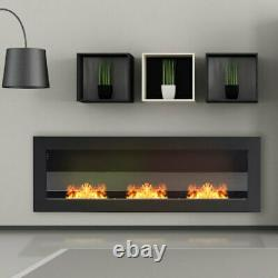 W 1200mm 1400mm Inset/Wall Mounted Bio Ethanol Fireplace Biofire Fire with Glass