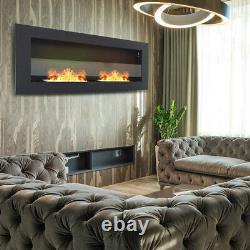 Wall Mounted Bio Ethanol Fireplace 900 x 400 Real Fire Flame Display Black Glass