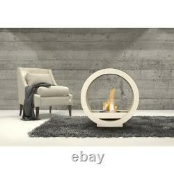 White Globe Flame Bio Ethanol Fireplace Modern Retro Design